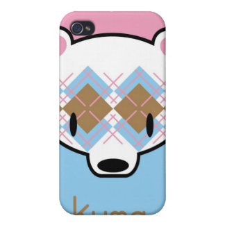 Aaargyle Pink and Blue Kuma-chan iPhone 4 Cover