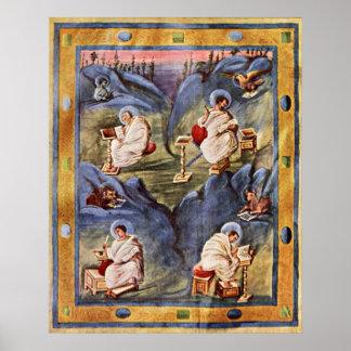 Aachen Gospels by Carolingian book painters Poster