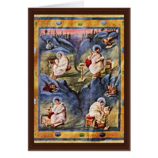 Aachen Gospels, Folio 13R By Karolingischer Buchma Greeting Card