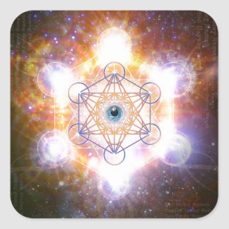 """Aad Guray Nameh""-Protective Mantra-Merkaba Square Sticker"