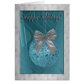 aAqua Ornament with Silver Bow, Happy Holidays Greeting Card
