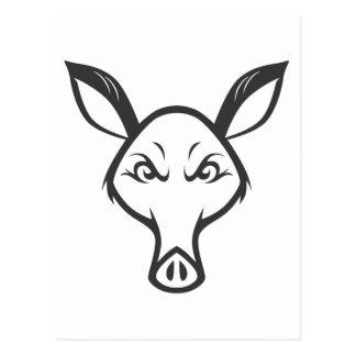 Aardvark enojado tarjeta postal