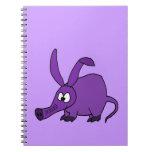 Aardvark púrpura divertido cuadernos