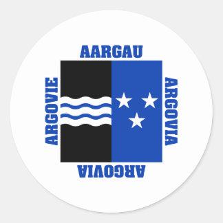 Aargau Switzerland Canton Flag Round Sticker