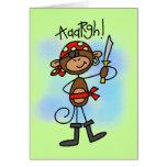 Aargh camisetas y regalos del pirata del mono tarjetón