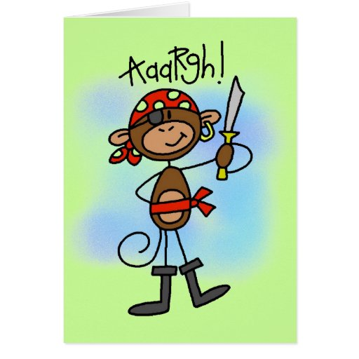 Aargh Monkey  Pirate Tshirts and Gifts Greeting Cards