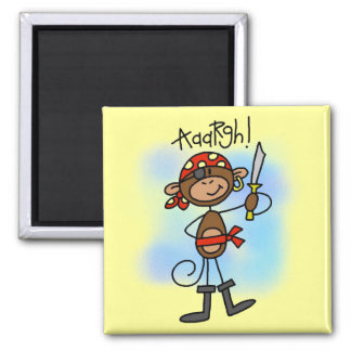 Aargh Monkey  Pirate Tshirts and Gifts 2 Inch Square Magnet