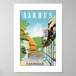 Aarhus Danmark (blanco) Póster