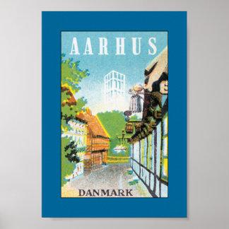 Aarhus Danmark (frontera) Póster