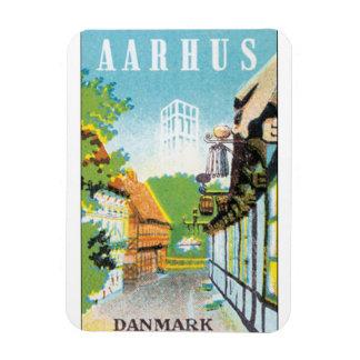 Aarhus Danmark Vintage Travel Poste Magnet