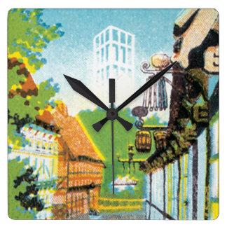Aarhus Danmark Vintage Travel Poste Square Wall Clock