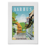 Aarhus Danmark (white) Posters