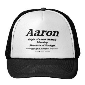 Aaron. Casquillo conocido del significado Gorras