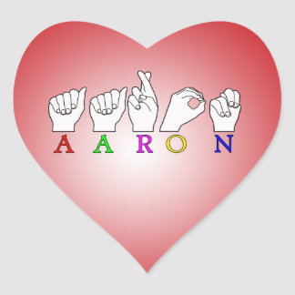 AARON FINGERSPELLED NAME SIGN HEART STICKER