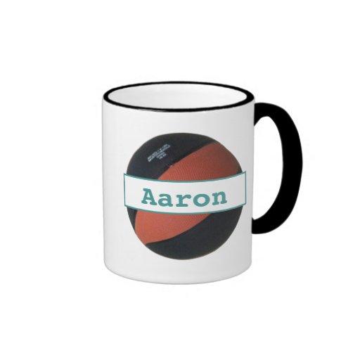 Aaron personalized Basketball Ringer Mug