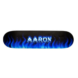 Aaron skateboard blue fire and flames design