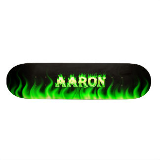 Aaron skateboard green fire and flames design.