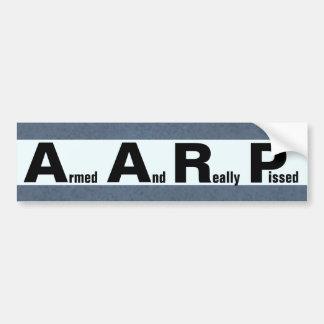AARP significa ARMADO Y PISSED REALMENTE Pegatina De Parachoque