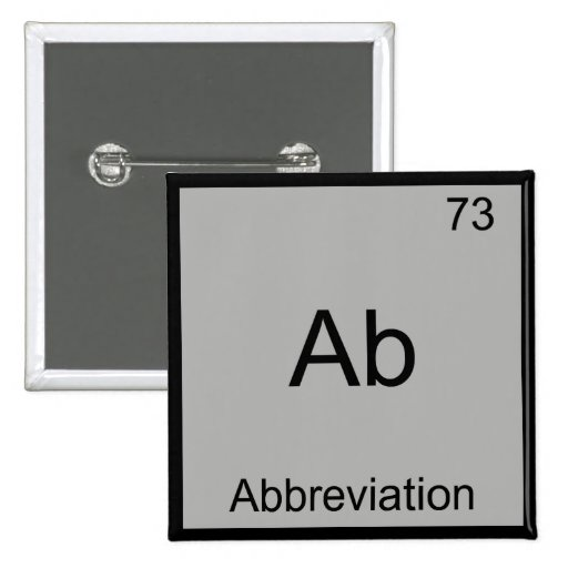 Ab - Abbreviation Funny Chemistry Element Symbol Pins