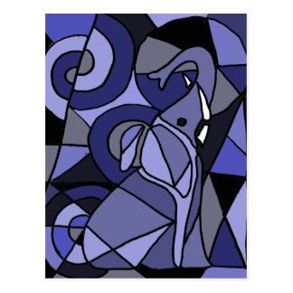 AB- Abstract Art Elephant Postcard