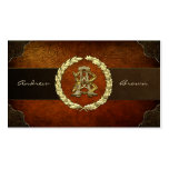 AB & BA Monogram [Gold+Leather] Business Card Templates
