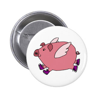 AB- Funny Flying Pig with Sneakers Pinback Button