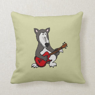 AB- Funny Wolf Playing the Guitar Tan Pillow