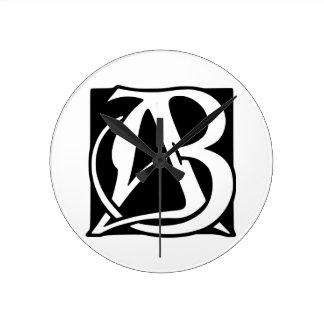 AB Monogram with Black Background Round Clock