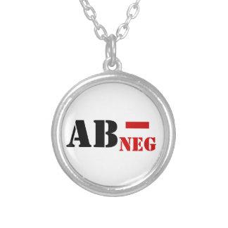 AB - NEG BLOOD TYPE ROUND PENDANT NECKLACE