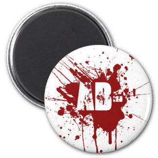 AB Negative Blood Type Donation Vampire Zombie 2 Inch Round Magnet