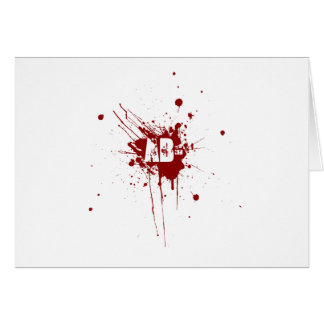 AB Negative Blood Type Donation Vampire Zombie Greeting Card