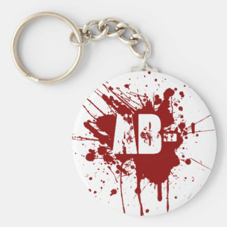 AB Negative Blood Type Donation Vampire Zombie Keychain