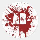 AB Negative Blood Type Donation Vampire Zombie Classic Round Sticker