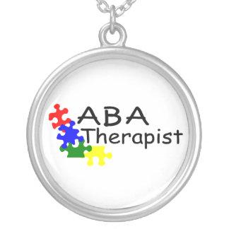 ABA Therapist Puzzle Pieces Round Pendant Necklace
