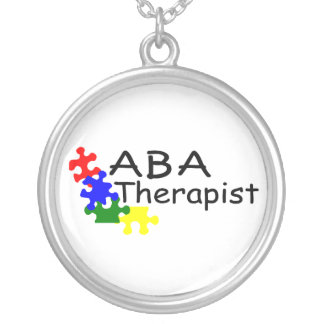 ABA Therapist Puzzle Pieces Silver Plated Necklace