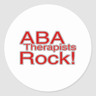ABA Therapists Rock (Red) Classic Round Sticker