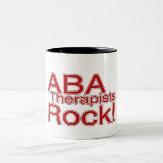 ABA Therapists Rock (Red) Two-Tone Coffee Mug