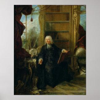 Abad Nollet en su estudio, en castillo francés Póster