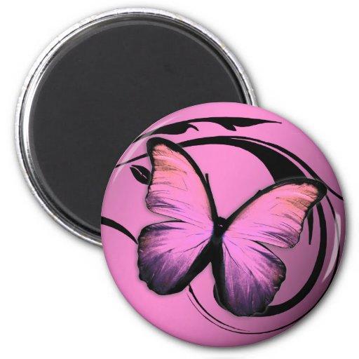 Abadejo brillante del rosa de la mariposa 311 imán redondo 5 cm