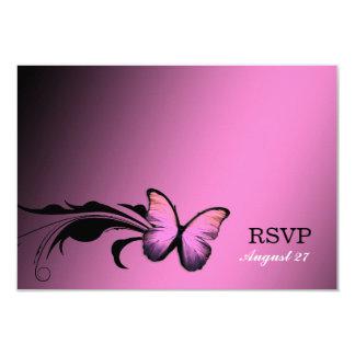"""Abadejo brillante RSVP del rosa de la mariposa 311 Invitación 3.5"""" X 5"""""""