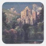 Abadía 1905, Llangollen, País de Gales de Valle Pegatina Cuadrada