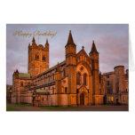 Abadía de Buckfast y puesta del sol de oro Tarjetas