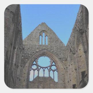Abadía de Tintern, monasterio cisterciense, País Pegatina Cuadrada
