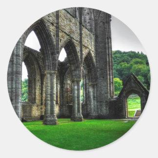 Abadía de Tintern, monasterio cisterciense, País Pegatina Redonda