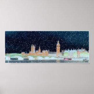 Abadía de Westminster y Big Ben - noche Nevado Póster