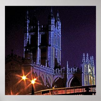 Abadía del baño en la noche, Somerset, Inglaterra, Póster