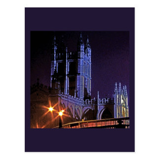 Abadía del baño en la noche, Somerset, Inglaterra, Tarjeta Postal