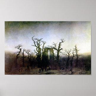 Abadía en un bosque del roble de Caspar David Frie Poster