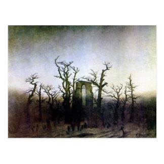 Abadía en un bosque del roble de Caspar David Frie Postal