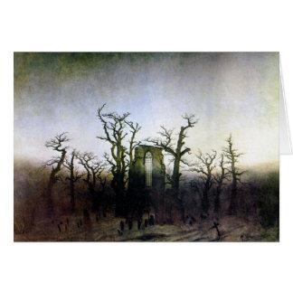 Abadía en un bosque del roble de Caspar David Tarjeta De Felicitación